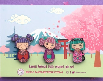 SECONDS SALE! Cute Enamel Pin set, Kokeshi Doll, japanese dolls brooch, kawaii lapel pin, kawaii accessories, kawaii fashion