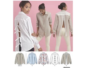 Simplicity Sewing Pattern 8416 Misses' Shirt with Back Variations