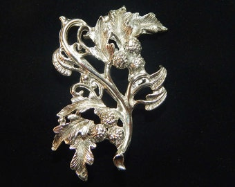 Vintage Silver Leaf Brooch Silver Tone Leaf and Berries On A Branch Leaves and Berries Brooch