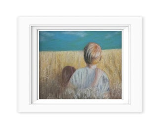 Print of Original oil pastel painting entitled Summer Daze days children farm wheat industrial rustic farmhouse decor print SD9382