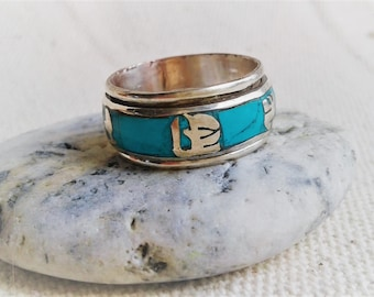 Ethnic ring- Ethnic jewel- Rings Man Woman-Nepal Tibet-Turquoise