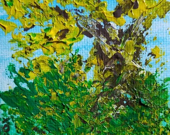 Overgrown (Miniature Acrylic Painting with Easel)