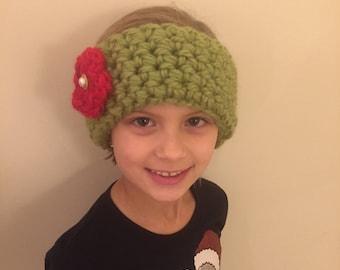 Kids Hand Crochet Earwarmer Headband, Flower, Button, Green, Red