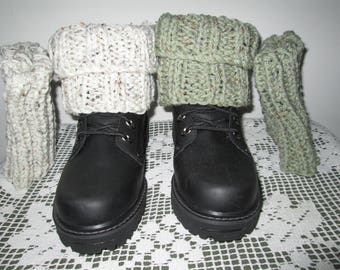 Boot Toppers Knitted by SuzannesStitches, Off White Boot Toppers, Green Boot Cuffs, Knitted Boot Toppers, Womens Boot Topper, Teen Boot Cuff