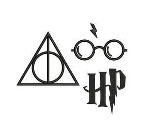 Harry Potter Glasses Embroidery Design - 3 designs 3,4,5 inch size each instant download