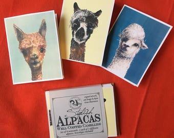 Stylish Alpacas notecard set- gift set of 6 cards with 3 original alpaca illustrations