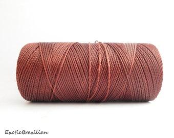Thread for macrame, 1 spool, rust waxed thread, Linhasita DARK RUST no212, whole spool of 188yards, autumn brown, burnt sienna
