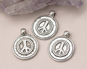 Peace Sign Charms, 12 pcs, 16mm, Bracelet Charms, Peace Sign Pendant, Silver Charms - C423