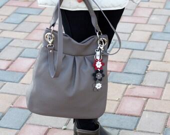 GRAY BUCKET Leather Bag, TOTE Leather Bag, Leather Shoulder Bag, Soft Pebbled Leather Bag, Leather Bucket Bag, Everyday Leather Bag