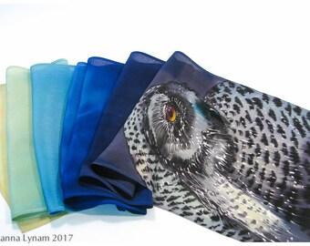 """Hand painted silk scarf. Snowy Owl Silk Scarf. 8x51"""" Snowy owl scarf. Silk scarf handpainted. Hand painted silk scarves~Painted silk scarves"""