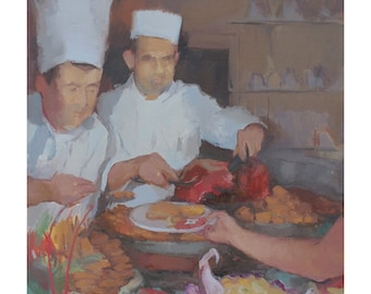 chef painting archival print- food lover gifts, kitchen wall art, figurative painting by Michelle Farro