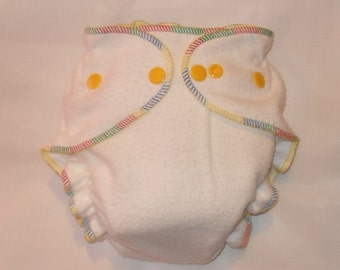 Organic Bamboo  fitted diaper with multi color thread
