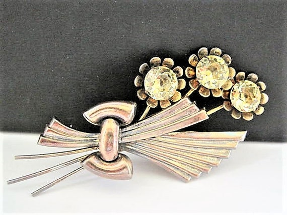 Sterling Silver Flower Brooch, Citrine Glass Cabochons, Gold Vermeil Overlay