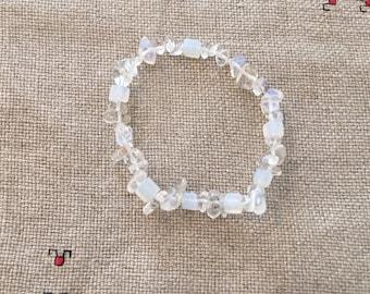 Moonstone/Rock Crystal/Flourite gemstone stretch bracelet