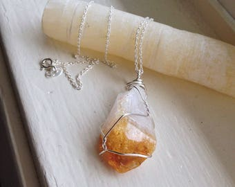 Citrine Point Necklace - Raw Citrine Necklace - Sterling Silver Citrine Necklace - Stress Crystal Necklace -  Woman's Citrine Necklace