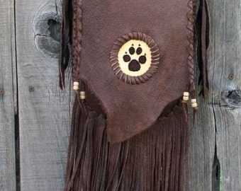 Fringed leather handbag with wolf paw totem , Crossbody handbag ,Leather handbag