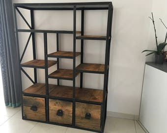 Industrial furniture wooden library drawer
