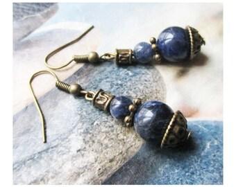 """Sodalite beads"" earring on antique bronze"
