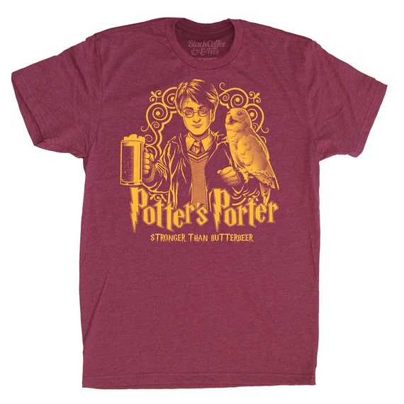 Harry Potter Shirt -Mens Beer Shirt - Harry Potters Porter Shirt - Butter Beer Hand Screen Printed on a Mens T-Shirt -Mens Craft Beer Shirt