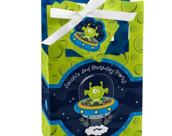 Space Alien Favor Boxes - Custom Birthday Party Supplies - Set of 12