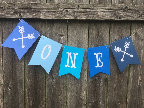 Blue ombr cake smash banner One banner High chair banner