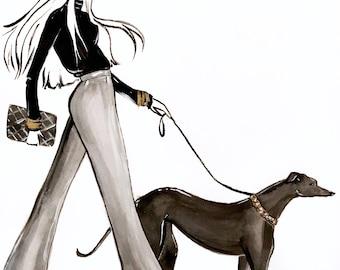 Greyhound Dog Walker Fashion Illustration Print