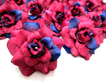 24 Wine mini Roses Heads - Artificial Silk Flower - 1.75 inches - Wholesale Lot - for Wedding Work, Make clips, headbands