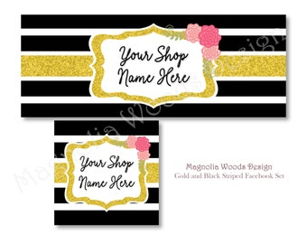 Black and Gold Facebook Cover Photo, Facebook Business Timeline Set, Facebook Timeline, Facebook Profile, Facebook Set, Digital File