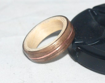 Wooden Rings - Bentwood Walnut - Maple - Copper Rings - Mens Wood Rings, Womens Wood Rings, Wood Engagement Rings, Wood Wedding Bands