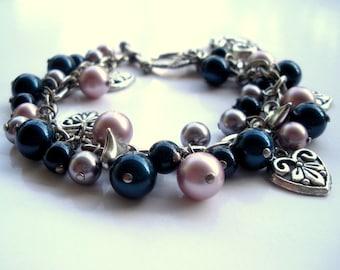 Pearl Charm Bracelet, Swarovski Elements Bracelet, Pearl Chain Bracelet, Swarovski Pearl Cluster Bracelet, A Gift for Her