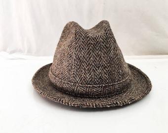 Harris Tweed Fedora / Brown Grey Wool Tweed Herringbone Fedora / 70s 60s Fedora / 1960s 1970s Mens Fedora Size Large 7 1/4 - 7 3/8