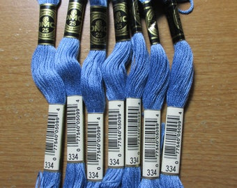 Lot of 7 Skeins DMC Floss # 334