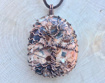 Tree of Life Pendant, Brecciated Jasper, Jasper Necklace, Crystal Jewelry, Crystal Necklace, Wire Wrapped, Healing Crystal, Spiritual, OOAK