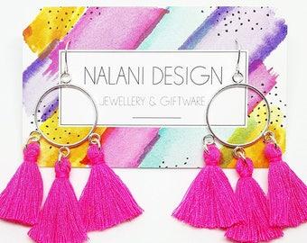 Halo Tassel Earrings (Bright Pink)