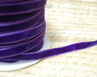 3\/8inch Pansy Purplet Velvet Ribbon