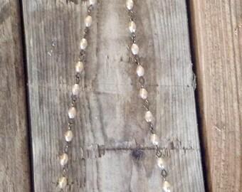 Soldered Vintage Lace Bird, beaded Rosary Chain Bird Pendant,