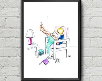 Bookworm Girl Print Blonde Hair Lazy Days Woman with Book Fashion Illustration Original Wall Art Gifts for Her Gift for Woman Girls Room Art