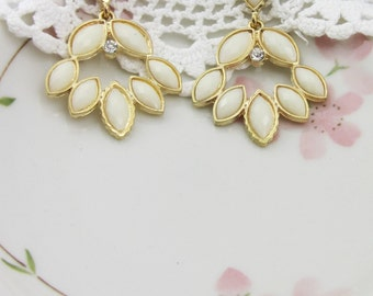Ivory Marquise Faceted Chandelier Dangle Earrings