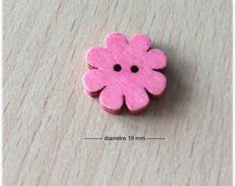 joli petit bouton rose en forme de fleur en bois 18 mm de diamètre