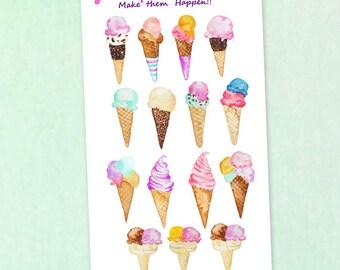 Watercolor Ice Cream Planner Stickers /  Yummy Ice cream cone Stickers