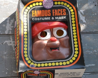 Ben Cooper Famous Faces Costume and Mask, 1980s Mr Potato Head Halloween Costume, Collectible Halloween