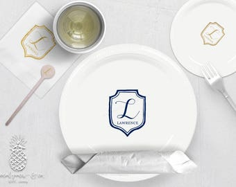Monogram Crest | Plates, Napkins or Cups Stir Stick | Weddings, Bachelorette, Engagement Bridal Parties or Baby Showers | social graces Co