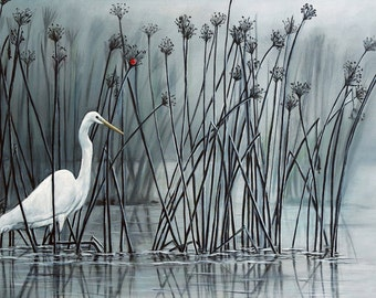 White Egret Stretched Canvas Home Decor Wall Art Ready To Hang on Your Wall, Bird Art, Canvas Bird Art Egret Painting by Amy Kulseth