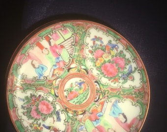 1850's Antique Chinese Rose Medallion saucers (set of 5)