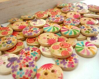 15mm Painted Wood Buttons, flower buttons, spiral button (Mixed Set of 24 pcs / 6 designs)