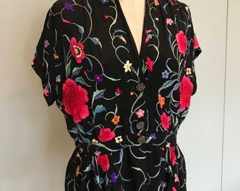40s Vibrant Piano shawl blouse