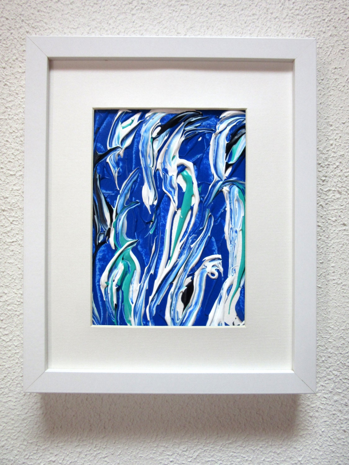 Blue Framed Painting, Small Framed Art, Framed Abstract Art, Framed ...