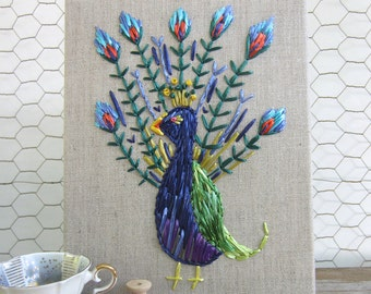 Priscilla's  perfect peacock woven in bright blue, emerald green and light blue vintage Swistraw on linen by Ruby Buffalo.