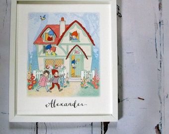 Personalised Pixie House framed print