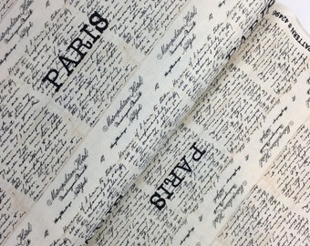 Anniversary Sale Cream Paris Script Text Cotton Fabric from the Destination Paris Collection by Whistler Studios for Windham Fabrics